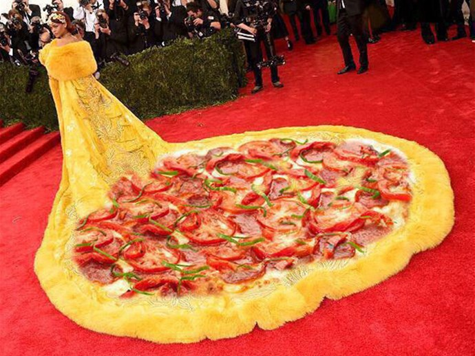 <strong>2015</strong> <br><br> When Rihanna arrived in the Guo Pei dress that instantly launched a thousand memes. Pizza anyone?