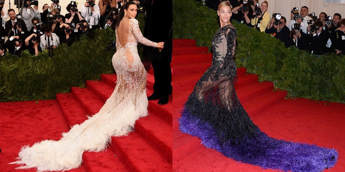 <strong>2015</strong> <br><br> When Kim wore this sheer feathered Roberto Cavalli gown and everyone called out its no-so-subtle similarities to Beyonce's Givenchy Haute Couture dress from 2012.
