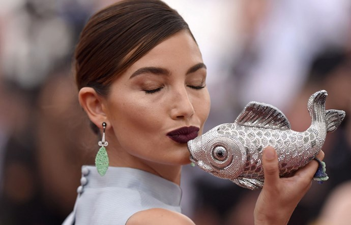 <strong>2015</strong> <br><br> When Lily Aldridge really loved her bedazzled fish clutch.
