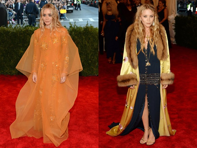 <strong>2013</strong> <br><br> Back in their bohemian days, Ashley donned tangerine-coloured Dior Couture while Mary-Kate wore Chanel under a fur-trimmed robe coat.