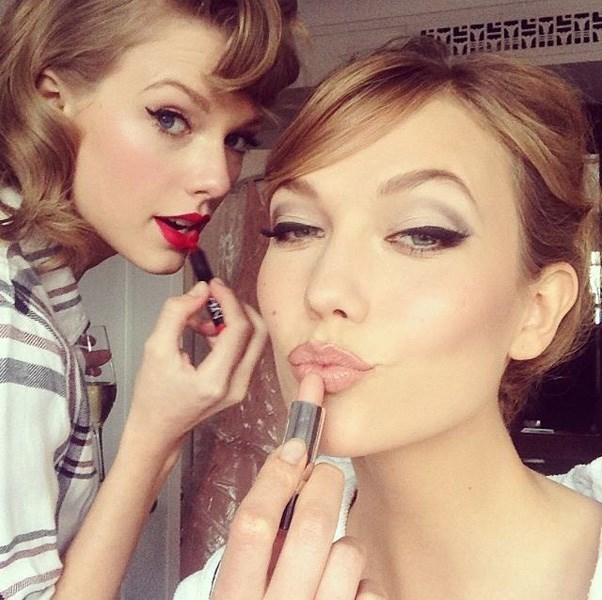 """<strong>2014</strong> <br><br> When Taylor Swift and Karlie Kloss got ready together and basically looked like a beauty ad. <br><br> Image: <a href=""""https://www.instagram.com/p/nog3RrkSpf/"""">@karliekloss</a>"""