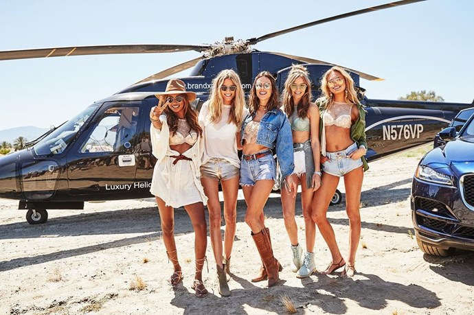 """<strong>Jasmine Tookes, Martha Hunt, Alessandra Ambrosio, Josephine Skriver and Romee Strijd</strong> <br><br> Image: <a href=""""https://www.instagram.com/p/BS4y9AwB3hC/"""">@marthahunt</a>"""