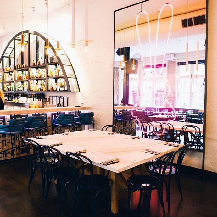 """<a href=""""http://www.chinchinrestaurant.com.au/""""><strong>Chin Chin</strong></a> <br><br> <strong>Location:</strong> Melbourne, VIC <br><br> This is one of those places where the delicious Thai food is so good you won't complain about where you're seated. It's also got an amazing vibe, with great music and moody lighting. As for the interiors, they're industrial yet modern—and you won't leave without taking a photo of their signature neon bunny in a mirror. (Good news, Sydneysiders: Chin Chin is opening locally later this year.) <br><br> <a href=""""https://www.instagram.com/p/BSyAYCojwRe/"""">@chinchin</a>"""