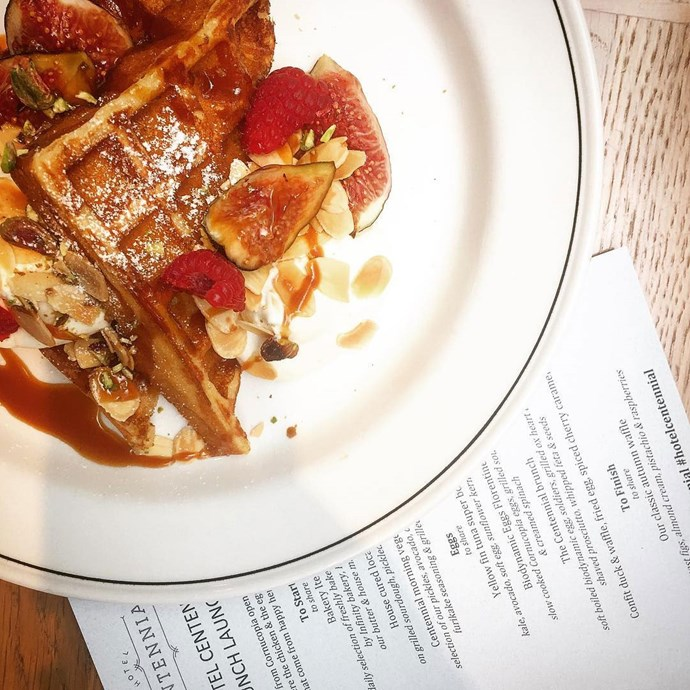 "<a href=""http://hotelcentennial.com.au/""><strong>Hotel Centennial, Woollahra</strong></a> <br><br> Brunch runs on the weekends from 10 a.m. to noon, and the menu looks healthy and delicious. There's also a breakfast martini cocktail, and a $60 Centennial Set option that includes a selection of items on the menu. <br><br> Image: <a href=""https://www.instagram.com/p/BRrKmmagGCz/"">@hotelcentennial</a>"
