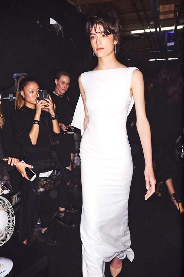 "A model walks the runway at the Carla Zampatti show. <br><br> <em>Image courtesy of <a href=""http://sonnyphotos.com/"">Sonny Vandevelde</a>.</em>"