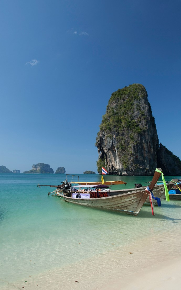 <p><strong>Railay Beach, Thailand</strong> <p>Cut off from the rest of the mainland of Krabi province by high limestone cliffs, Railay Beach is only accessible by boat, making it one of Thailand's most peaceful and beautiful beaches.