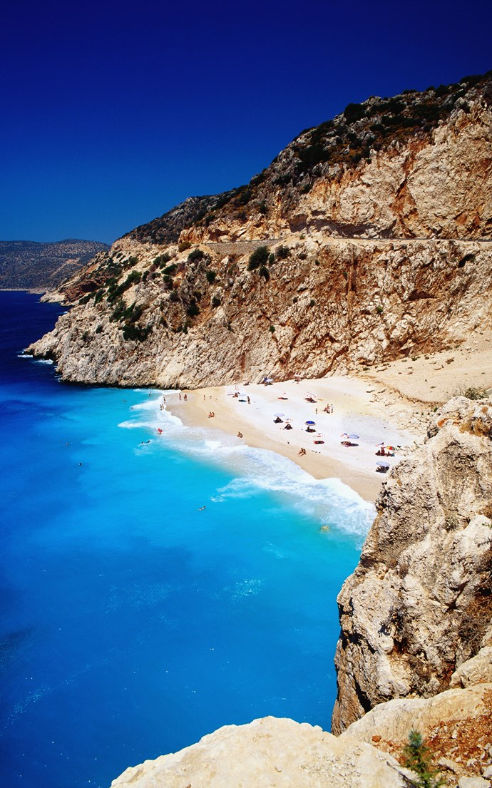 <p><strong>Kaputas Beach, Turkey</strong> <p>Greece and Italy might get more attention when it comes to Mediterranean beaches, but Turkey's southwestern coast is home to some beautiful options including the small sandy cove at Kaputas Beach.