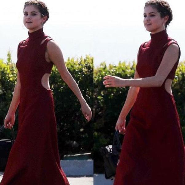 <strong>April, 2017</strong><br><br> Selena wore a red Emilia Wickstead dress to attend the wedding of friend David Henrie.