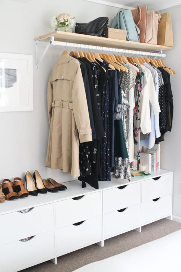 "<strong>""No Closet"" Closet Solutions</strong> <br><br> Moving into a room that doesn't have any closet space? Don't freak out. Pinterest has plenty of DIY solutions to solve that problem."