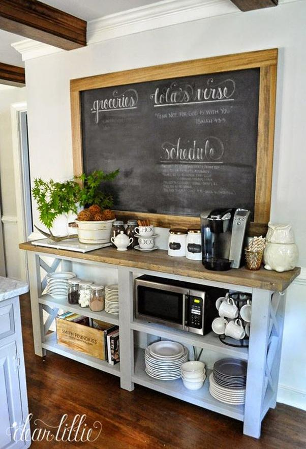 <strong>Coffee Bar Command Centre</strong> <br><br> Move over bar carts — people today are obsessed with turning a corner of their kitchen into a coffee bar command centre complete with bulletin boards, to-do lists and, of course, coffee.