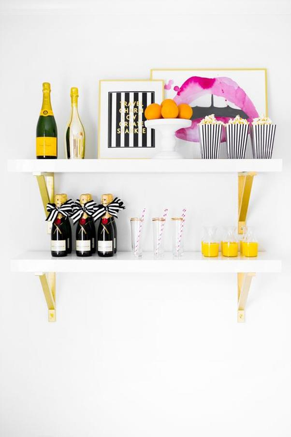 <strong>Vertical Bar Carts</strong> <br><br> If you're short on floor-space but still want a bar cart, steal this ingenious idea from Pinterest and go vertical.