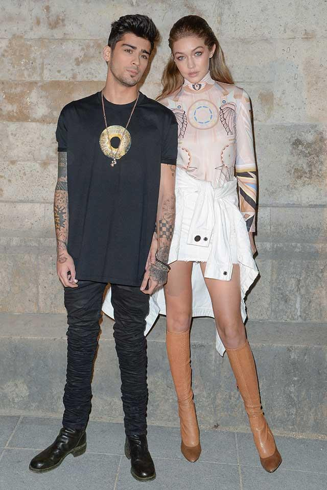 <strong>When:</strong> October, 2016<br> <strong>What:</strong> The pair lovingly dote on each other, Zayn clad in head-to-toe ebony while Gigi dons low-key '60s pastel hues.<br><br>