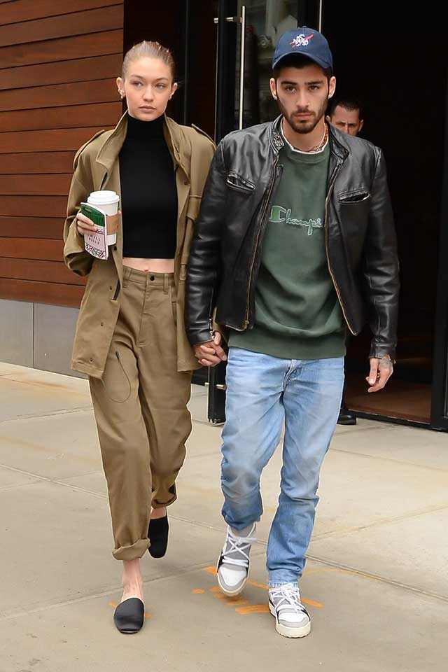 <strong>When:</strong> April, 2017<br> <strong>What:</strong> Gigi opts for utilitarian tobacco co-ords while Zayn sports '90s-inspired urban vibes.-<br><br>