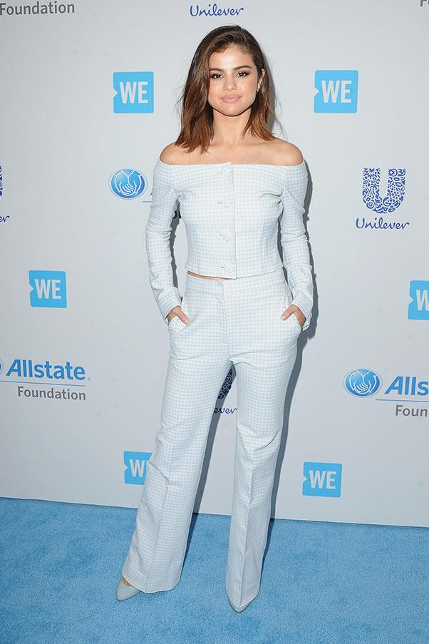 <strong>April, 2017</strong><br><br> Selena wore a Brock Collection to host WE Day California.