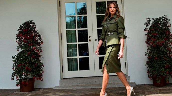 Melania wore a military-reminiscent Altuzarra jacket and skirt to meet Argentina's President and First Lady in April 2017.