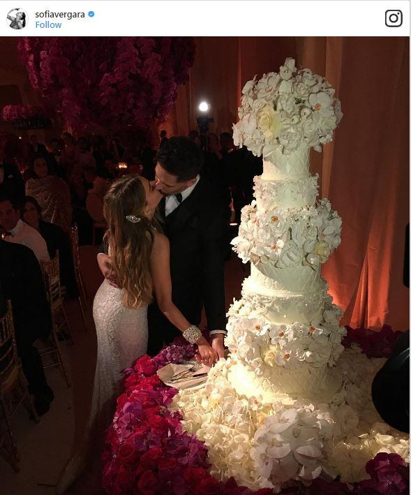 "<p><strong>Sofia Vergara & Joe Manganiello</strong> <p>If you fell in love with Vergara's custom Zuhair Murad couture gown, wait until you see her cake. Designed by Sylvia Weinstock, the <a href=""http://greatideas.people.com/2015/11/23/sofia-vergara-joe-manganiello-wedding-cake/"">five-tiered cake</a> featured a quilted design, flowers over each tier, and was topped with a giant floral arrangement. <p> <em>Via: <a href=""https://www.instagram.com/p/-dGGPZLpXW/"">@sofiavergara</a></em>"