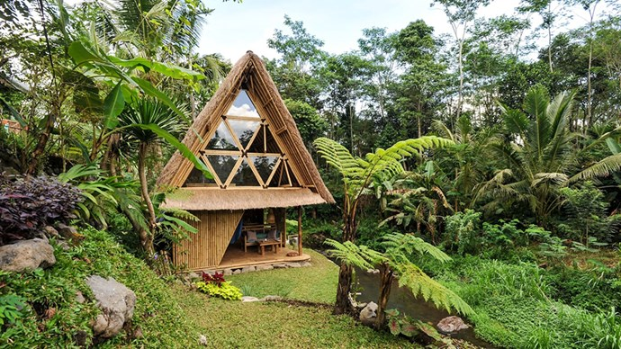 """<strong><a href=""""https://www.airbnb.com.au/rooms/5904771"""">The Eco Bamboo Home</a> in Selat, Indonesia</strong>.<p><p> Get away from the bustle of Kuta and hideaway in this sweet little treehouse, which sits on the edge of a lazy river. Plus, that triangle window is perfect for a nonchalant #WhereIWokeUp 'gram.<p> $180 per night."""