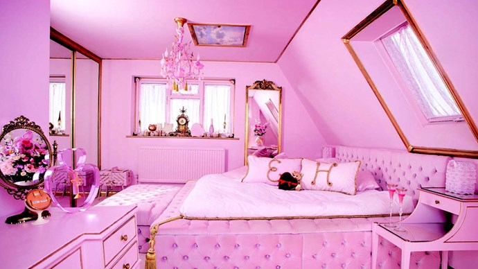 """<strong><a href=""""https://www.airbnb.com.au/rooms/244617"""">The Eaton House Studio</a> in Essex, England</strong>.<p><p> If you're passing by Essex, it's worth the pricetag to get a couple of good 'grams out of this all-pink house. We can't imagine a better #OOTD than in front of that glitter wall.<p> $3,526 per night."""