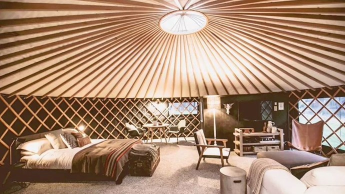 """<strong><a href=""""https://www.airbnb.com.au/rooms/6730712"""">The Round Tent</a> in Raglan, New Zealand</strong>.<p><p> This chic yurt-style tent is the perfect retreat for glampers. Sit around the fire pit, take a luxe bath under the stars and stay in the fully-furnished tent at night.<p> $246 per night"""