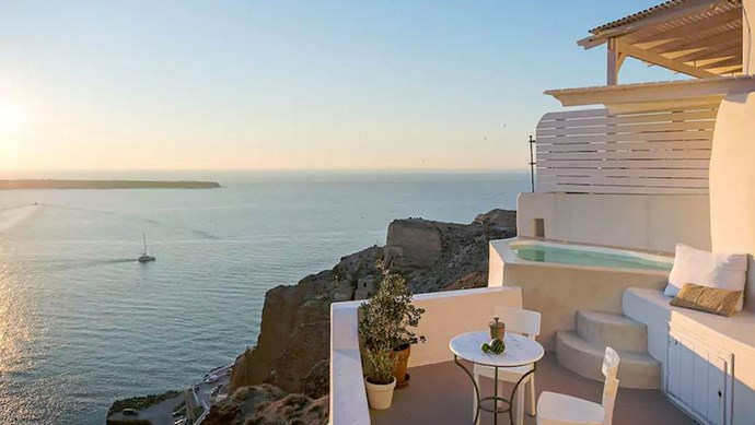 """<strong><a href=""""https://www.airbnb.co.uk/rooms/388119"""">The Fisherman's Cave House</a> in Oia, Greece </strong>.<p><p> A little white house on the cliffs of Greece? Need we say more? <p> $382 per night"""