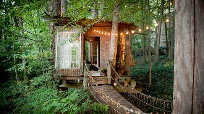 """<strong><a href=""""https://www.airbnb.com.au/rooms/1415908"""">The Secluded Intown Treehouse</a> in Atlanta, U.S</strong>.<p><p> Relive your childhood dreams in this magical treehouse.<p> $515 per night"""