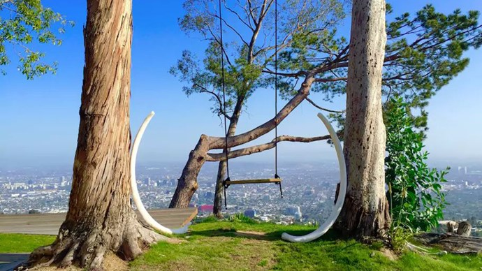 """<strong><a href=""""https://www.airbnb.com.au/rooms/822340"""">The L.A. Treehouse</a> in Los Angeles, U.S</strong>.<p><p> Sitting in a swing overlooking the L.A. cityscape is a 'gram no one can top. Trust us. <p> $961 per night"""