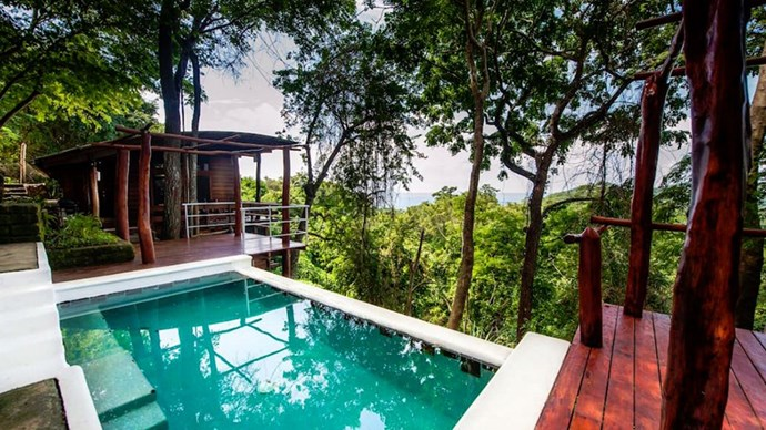 """<strong><a href=""""https://www.airbnb.com.au/rooms/2271809"""">Casa Arbol</a> in San Juan del Sur, Nicaragua</strong>.<p><p> Overlook the treetops of Nicaragua in this Safari-style house.  <p> $254 per night"""