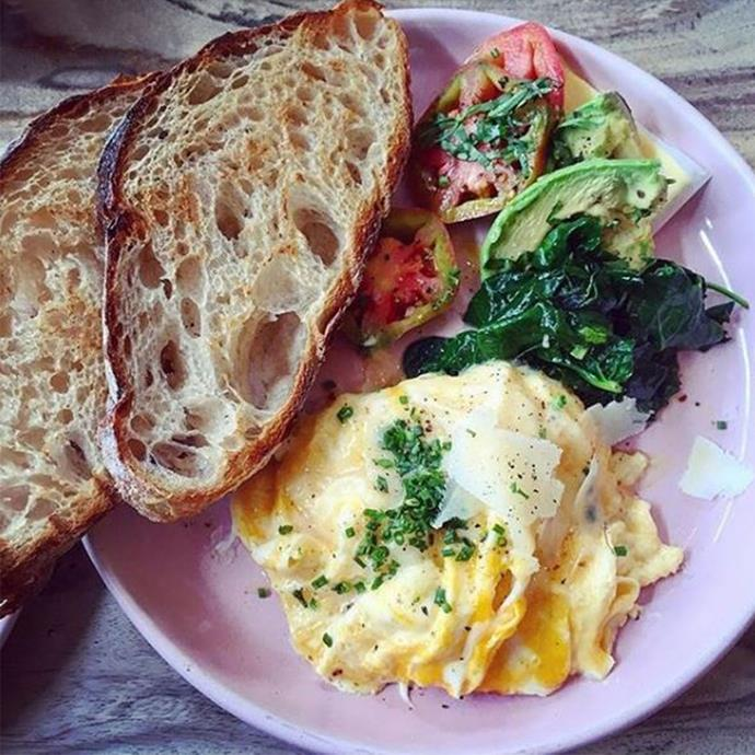 """<strong>4. 2 egg omelette with a variety of vegetables (spinach, mushrooms, capsicum, tomato) and 1 slice of wholegrain toast</strong> <br> <br> Load up your omelette with the good stuff–spinach, mushrooms, capsicum, etc–for a filling meal that'll keep you going for hours. <br> <br> <em><a href=""""https://www.instagram.com/breadcircus/?hl=en"""">@breadcircus</a></em>"""