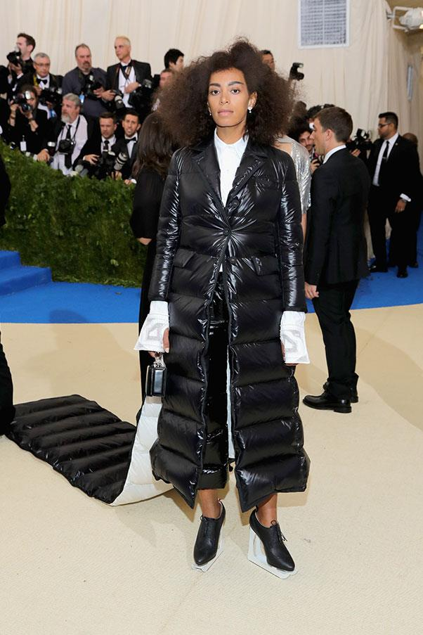 "<strong>Solange in Thom Browne</strong><br><br> ""One can have too much puffer fabric in one's life."" - Jessica Matthews, deputy chief subeditor<br><br> ""Bold, irreverent, a fitting tribute to a fashion provocateur and the ultimate foil to frigid air-conditioning."" - Tom Lazarus, chief subeditor"