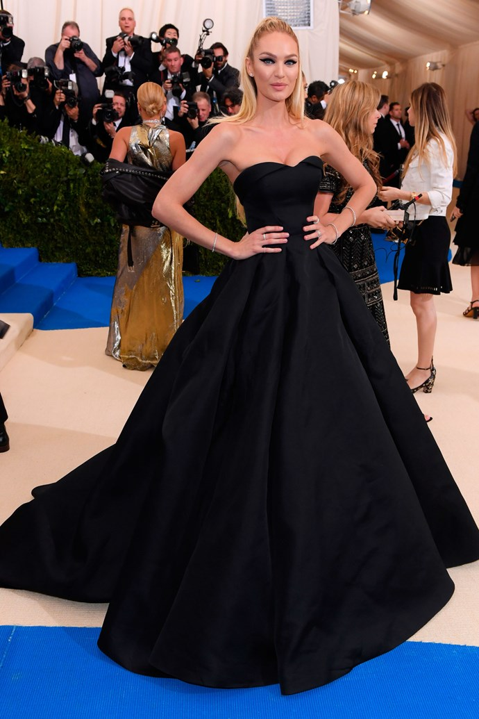"""<strong>Candice Swanepoel in Topshop</strong><br><br> """"She's such a beauty, but I feel like this cookie-cutter dress is a missed opportunity for her to really shine."""" - Alison Izzo, digital managing editor"""