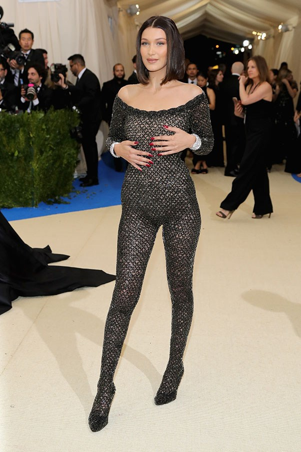 """<strong>Bella Hadid in Alexander Wang</strong><br><br> """"I feel like Bella was on her way to ballet class before she realised she was supposed to be at the Met Gala, so she ripped off her tutu and hightailed it to the event."""" - Kate Moffatt, digital weekend editor<br><br> """"Full-body fishnets. FINALLY."""" - Jessica Matthews, deputy chief subeditor<br><br> """"Bella Hadid certainly brought the 'wow'-factor to this year's red carpet, but not for the right reasons. This fitted net Alexander Wang catsuit looks like a body stocking and lacks the good taste we normally see from Bella."""" - Natasha Harding, digital fashion writer<br><br>"""