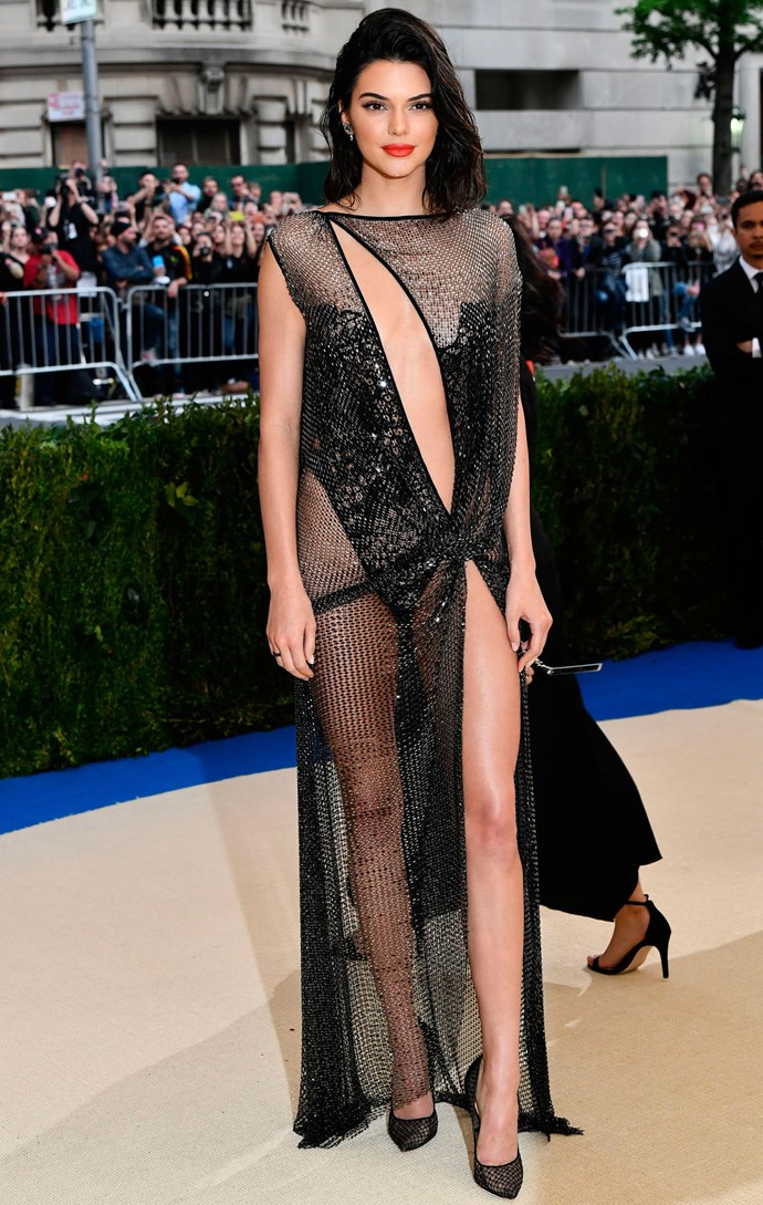 """<strong>Kendall Jenner in La Perla haute couture</strong><br><br> """"After a fairly sophisticated turn in Versace last year, I can't for the life of me figure out why Kendall Jenner opted for this dress for her third Met Gala. I guess the whole 'visible thong' concept was supposed to be outrageous, but it's just kind of… awkward."""" - Grace O'Neill, acting digital fashion editor"""