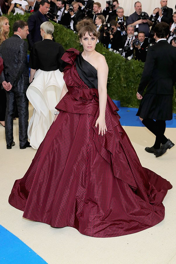 """<strong>Lena Dunham in custom Elizabeth Kennedy</strong><br><br> """"Lena Dunham's poofy Elizabeth Kennedy number looks more like a jazzed-up curtain from inside Moulin Rouge than a Met Gala dress. It's a 'no' for me on this one."""" - Natasha Harding, digital fashion writer"""