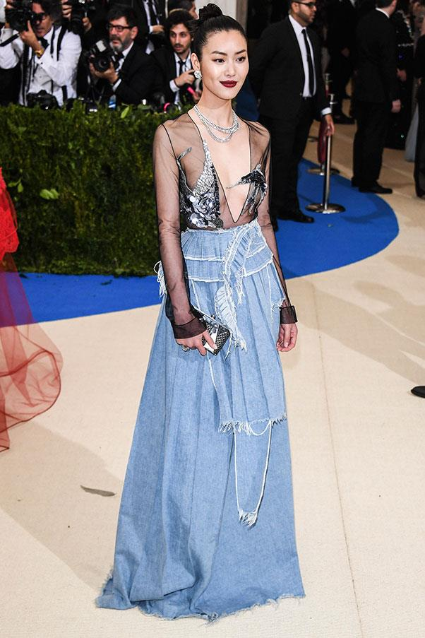 "<strong>Liu Wen in Off-White</strong><br><br> ""My joint favourite with Tracee Ellis Ross and Rihanna. Let's call it Little Penthouse on the Prairie. In a celebratory way."" - Tom Lazarus, chief subeditor<br><br> ""Very few people can pull off denim on the red carpet without veering into Britney and Justin circa the 1998 VMAs territory. Liu Wen, who is class personified every time she hits the red carpet, nailed it."" - Grace O'Neill, digital fashion editor."