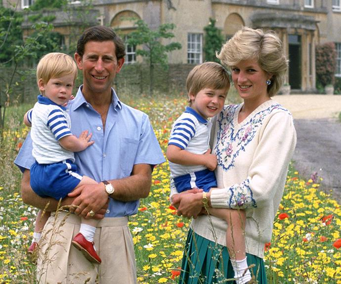 Princess Diana, Prince Charles and young Prince William and Prince Harry