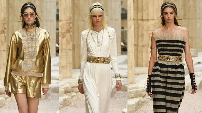 Chanel's Cruise 2018 show might have taken place in Paris, but guests were transported to Ancient Greece via an elaborate set of ancient ruins.<br><br> Models walked the runway in chic gladiator sandals, gold headbands, muted tones and pottery dresses, conjuring up an atmosphere of centuries past (and making us wish for warmer weather).<br><br> Click through to see the collection.