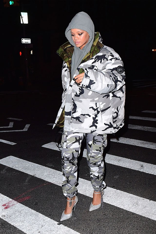 <strong>When:</strong> 6 February 2017 <br><br> <strong>What:</strong> Vetements x Canada Goose camo jacket and camo pants, a grey hoodie and silver heels in New York City. <br><br> Image: Splash