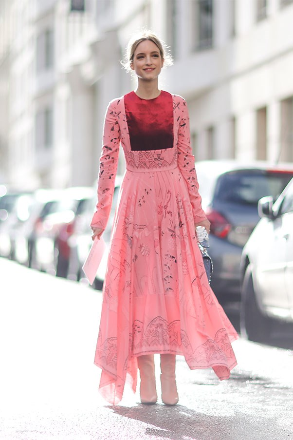A show-goer in Valentino during Paris fashion week autumn winter '17