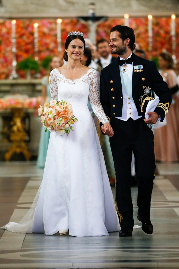 At her wedding to Prince Carl Philip. June, 2015.