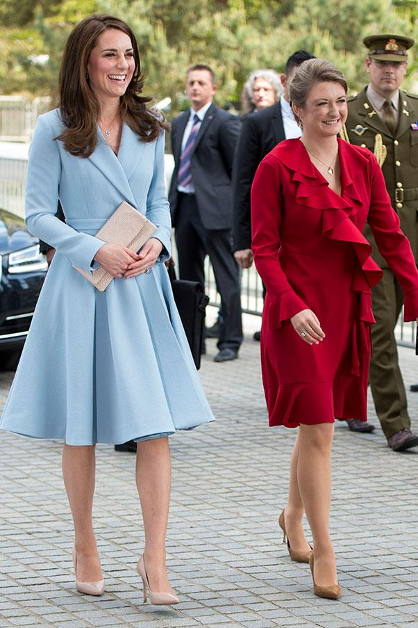 The Duchess wore an Emilia Wickstead coat dress to visit Princess Stephanie of Luxembourg.