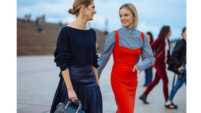 """We round-up the best street style from the first day of Mercedes-Benz Fashion Week Australia.<br><br> Pictured: Kate Waterhouse and Nadia Fairfax<br><br> Image: <a href=""""http://www.stylesnooperdan.com/"""">Stylesnooperdan</a>"""