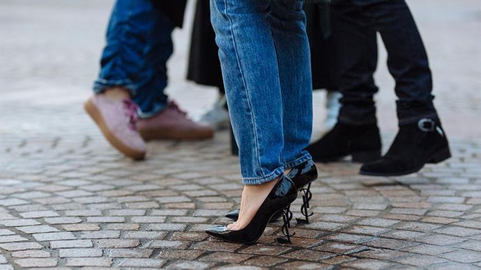 "Saint Laurent heels<br><br> Image: <a href=""http://www.stylesnooperdan.com/"">Stylesnooperdan</a>"
