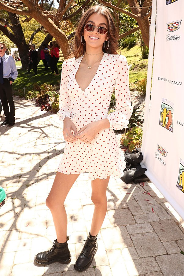 """<strong>Realisation Par</strong><br><br> Kaia Gerber stepped out wearing Realisation's <a href=""""http://realisationpar.com/the-kate-ivory-spot/"""">'The Kate' dress</a>."""