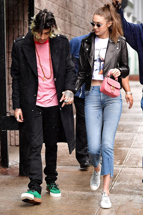 <strong>When:</strong> May, 2017<br> <strong>What:</strong> Gigi and Zayn had a his and her pink moment while out in New York city.-<br><br>