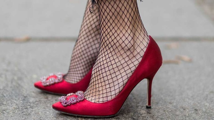 It seems right that Carrie Bradshaw's most famous shoe, the Manolo Blahnik Hangisi pump, is having a very real comeback among the personal style influencers of the world. Not only that, but reimagined versions of its satin court style and crystal-encrusted buckle are appearing all over stores.