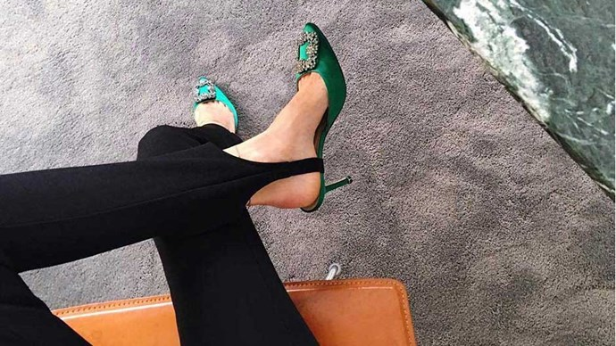 """It's been a very long time since I've considered wearing a glitzy heel for day, and yet I now feel compelled to give the slippers, trainers and slides a rest in favour of something more decadent. <br><br> Image: <a href=""""https://www.instagram.com/p/BHUhtE7DsQM/"""">@pernilleteisbaek</a>"""