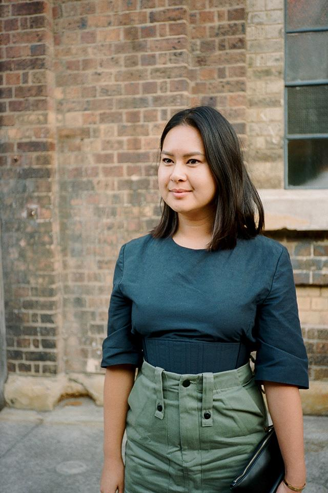 """<strong>Caroline Tran, Junior Fashion Editor <em>Harper's BAZAAR</em> Australia </strong> <br> <br> <strong>What's the beauty product you're into at the moment? </strong> I am really into maintaining my skin at the moment—my <a href=""""http://www.cosmedix.com/clarity-30-ml"""">Cosmedix Clarity Serum</a> always keeps my skin clear even though I'm out late or boozing. I am also obsessed with my <a href=""""http://www.mecca.com.au/la-mer/the-lip-balm/I-022608.html"""">La Mer Lip Balm</a>. <br> <br> <strong>Your fashion week breakfast is? </strong> It's a bit lame but I have a green smoothie every morning with mango, pineapple, silverbeet, spinach, LSA, chia seeds, flaxseed oil and <a href=""""https://www.welleco.com.au/collections/alkalising-formula"""">Super Elixir</a>. I blend and consume four servings of vegetables before 9 a.m. <br> <br> <strong>If you were an item of clothing… </strong> I would be a satin pointy <a href=""""https://www.manoloblahnik.com/""""> Manolo Blahnik</a> slingback pump because: ready for anything—business or party—I'm ready to roll. Also quite conservative and reliable. <br> <br> <strong> Fashion week in one word? </strong> Hectic/Uplifting. <br> <br> <strong>Whose style do you admire? </strong> I like a lot of people—Gilda Ambrosio, Giorgi Tordini, The Olsens, Cher from <em>Clueless</em>, Miroslava Duma."""