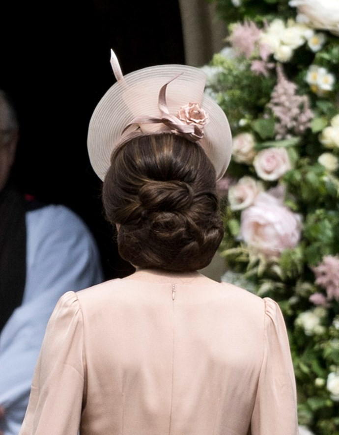 The Duchess opted to wear her hair in a chic rounded chignon.