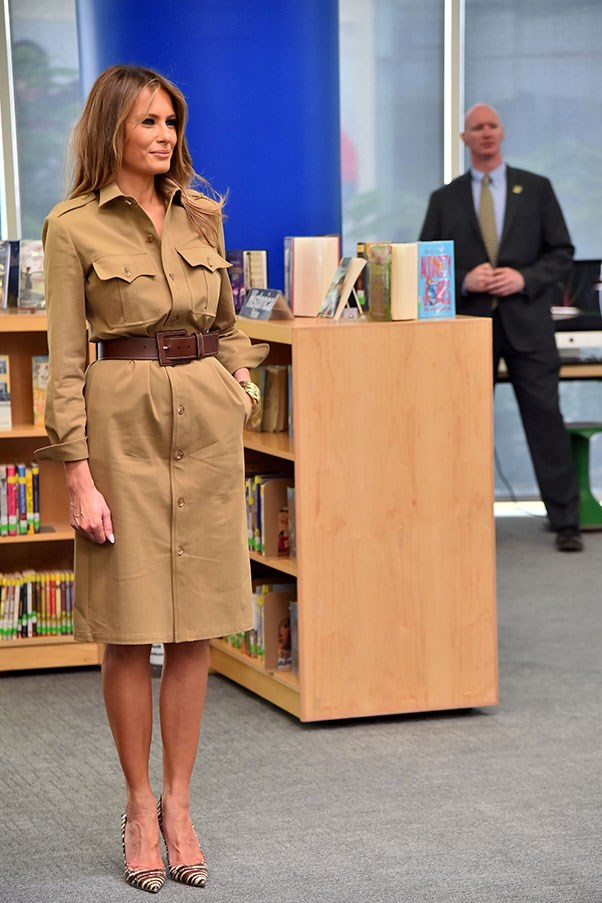 Trump wore a khaki knee-length dress with an oversized belt to visit a school during a trip to Saudi Arabia.