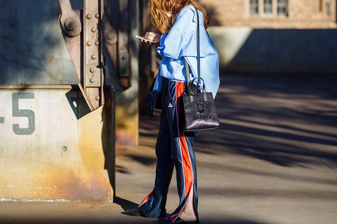 <strong>Side-Striped Tracksuits: </strong> <br><br> Another sports-inspired look, but done in a far more polished way—this year the humble trackpant got elevated. Add a blazer and a pair of heels and you're off and running.